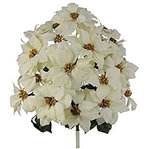 Admired By Nature GPB0707-RD/WT Faux Velvet Poinsettia Carnation Berry X'mas Bush, RD/WT 18