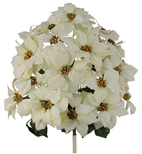 Bush Cream (Admired By Nature GPB969-Cream 24 Stems Faux Velvet Poinsettia Christmas Bush, Cream)