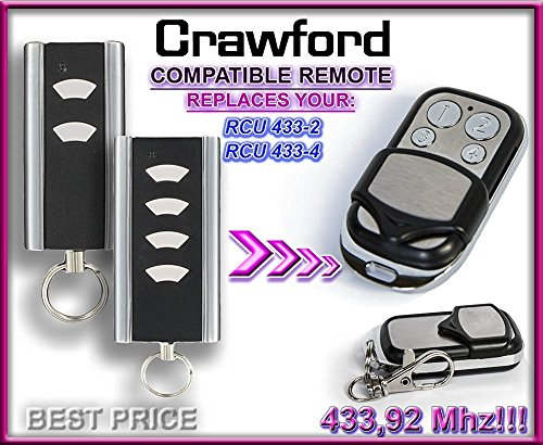 CRAWFORD RCU 433-2 / CRAWFORD RCU 433-4 compatible remote control replacement transmitter, 433.92Mhz rolling code keyfob