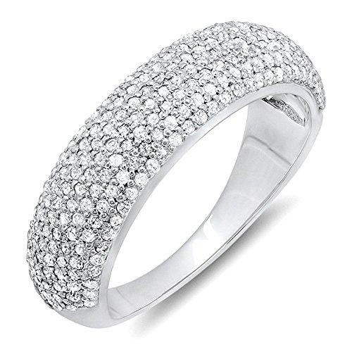 0.90 Carat (ctw) 14k White Gold Round Diamond Anniversary Wedding Band Ring (Size