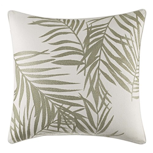 - Tommy Bahama Palms Away Leaf Embroidery Throw Pillow 16x16 Light Beige