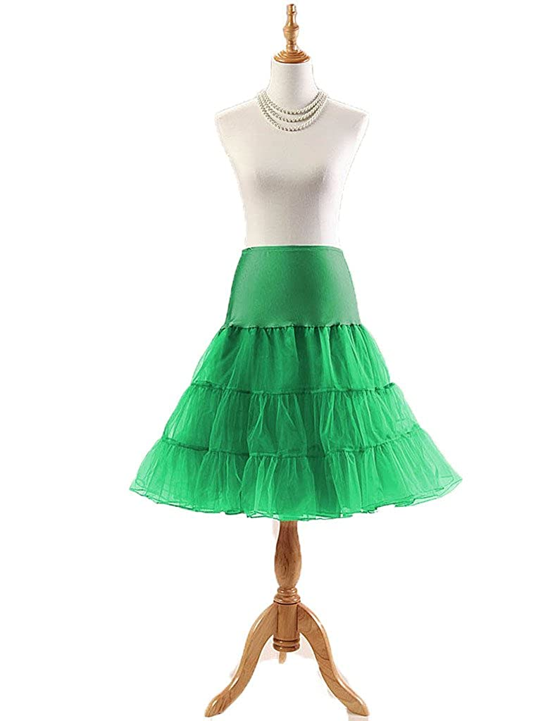 Flower Faerie Women's 53s Vintage Rockabilly Underskirt Petticoat Bustles(Green)