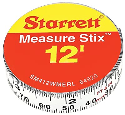 """Starrett Measure Stix SM412WMERL Steel White Measure Tape with Adhesive Backing, English/Metric Graduation Style, Right To Left Reading, 12' (3.65m) Length, 0.5"""" (13mm) Width, 0.0625"""" Graduation Interval"""