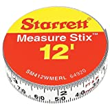 "Starrett Measure Stix SM412WMERL Steel White Measure Tape with Adhesive Backing, English/Metric Graduation Style, Right To Left Reading, 12' (3.65m) Length, 0.5"" (13mm) Width, 0.0625"" Graduation Interval"