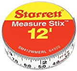 Starrett Measure Stix SM412WMERL Steel White Measure Tape with Adhesive Backing, English/Metric Graduation Style, Right To Left Reading, 12' (3.65m) Length, 0.5'' (13mm) Width, 0.0625'' Graduation Interval
