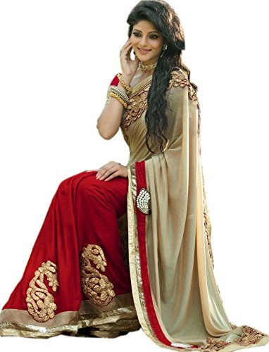5a9a5a8078 SARGAM FASHION Women's Georgette Saree With Blouse Piece (Srg_Bf_Bf9_Red):  Amazon.in: Clothing & Accessories