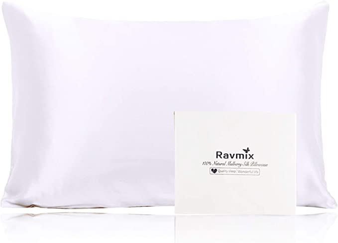 Amazon.com: Ravmix 100% Pure Mulberry Silk Pillowcase Standard Size 21 Momme 600 Thread Count Hair Skin Hidden Zipper, Hypoallergenic Soft Breathable Both Sides Silk Pillow Case, 20×26inch, White: Home & Kitchen