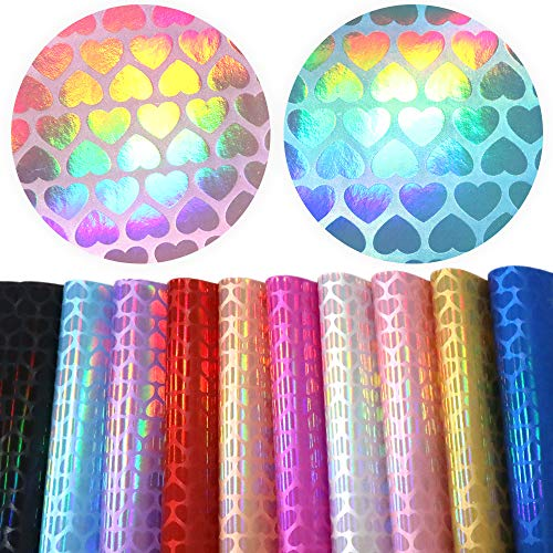 David accessories Holographic Printed Faux Leather Sheet Iridescence Heart Printed Synthetic Leather Fabric 10 Pcs 8