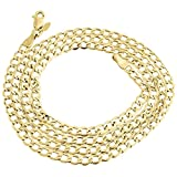 10K Yellow Gold 4.0mm Cuban Curb Link Chain Necklace Lobster Clasp