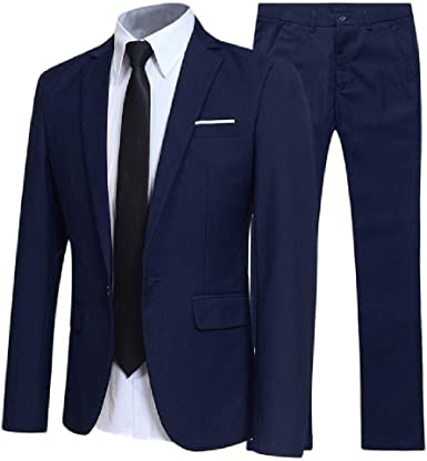 New Men S Suit Two Piece Suit Business Slim Casual Suit Male Youth Groom Wedding Suit Large Amazon Co Uk Clothing