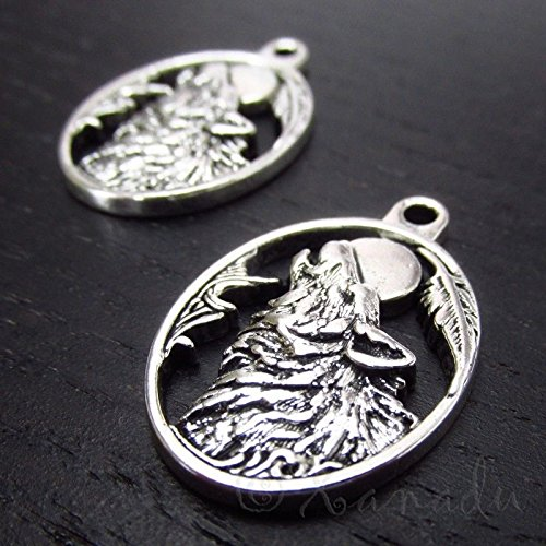 OutletBestSelling Pendants Beads Bracelet Howling Wolf 28mm Wholesale Antiqued Silver Plated Charms 5pcs