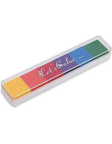 Almohadilla Tinta para Sello Tampón 6 Colores Oscuro para Niños No Tóxico