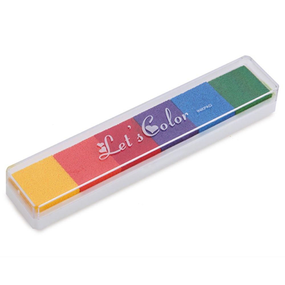 Natthom Almohadilla de tinta para niños no tóxicos Sello de goma Dedo pre-entintado para cojinete de tope de sello Manual de impresión para sellos Manual de mesa (H) COLEMETER
