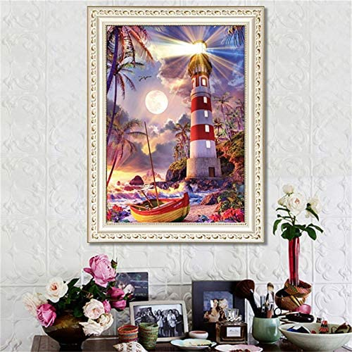 12x16 Inches Eiflow 5D Diamond Painting Dotz Kits for Adults Full Drill,DIY Paint with Diamond Embroidery Art Craft Mosaic Making for Home Wall Decor,Lighthouse