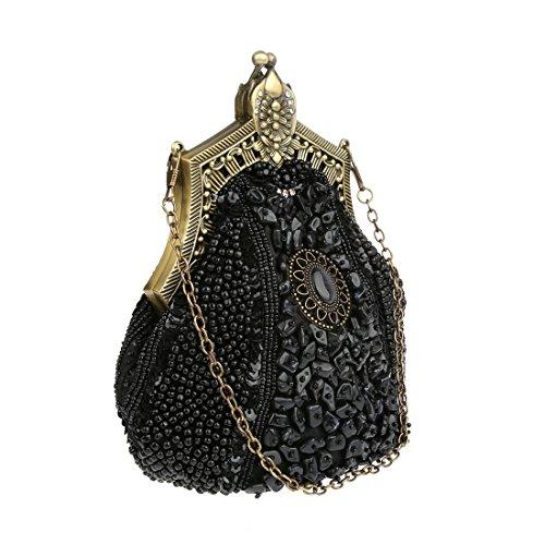 argent Femmes Noir Paillette Sac Soiree Kaxidy Satin De Main À Pochette A Sacoches Perlée Mariée IwCxOq4