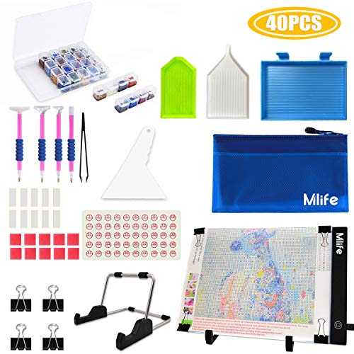 Mlife Diamond Painting A4 LED Light Pad Kit - Diamond Art Light Board with 32PCS 5D Painting Tools, Apply to Full Drill & Partial Drill 5D Diamond Painting with Detachable Stand and Clips from Mlife
