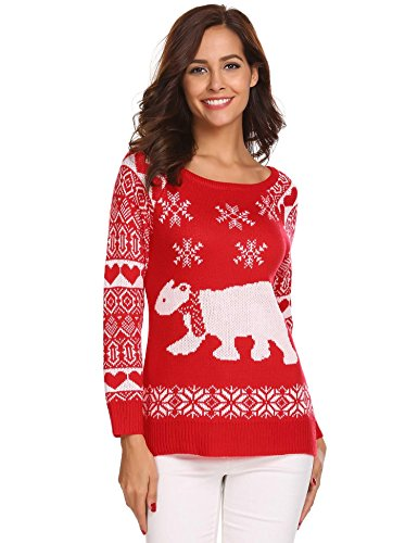 (Hufcor Women's Christmas Cute Snowman Snowflake Knitted Sweater Girl Pullover)