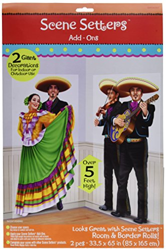 Amscan Fiesta Cinco de Mayo Dancers & Mariachis Scene Setter Decoration (2 Piece), Multi Color, 17.7 x 11.7