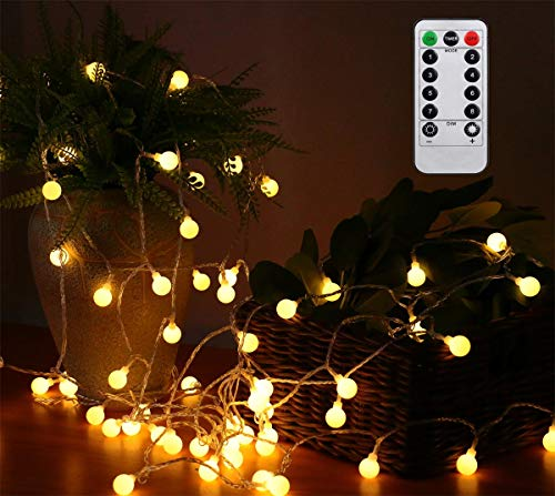 AMARS 33FT Battery Operated Globe String Lights with Remote Timer