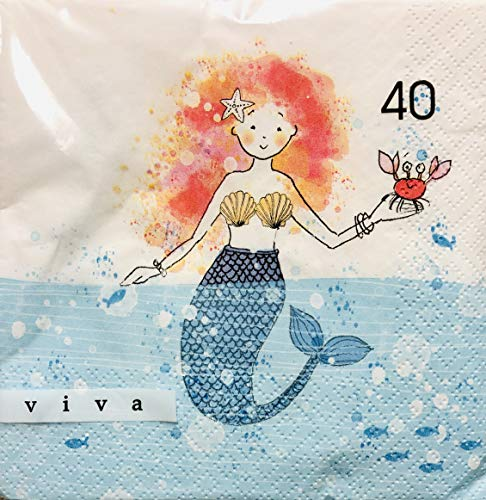 Little Mermaid Luncheon Napkins - Viva Mermaid Paper Luncheon Napkins, 40 ct