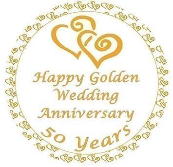 golden wedding anniversary cake topper edible sugar icing 7 5