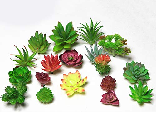 JUSTOYOU 18pcs Fake Succulents Plants Mini Artificial Succulent Unpotted Outdoor Home D
