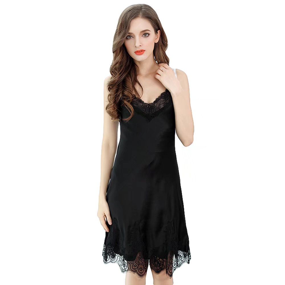 5b5a5333ed2 Onlygiftsu Nightgown Pure Color Sexy Pajamas Summer 100% Silk Long Sling  Skirt Sleepwear Gifts for Her at Amazon Women s Clothing store