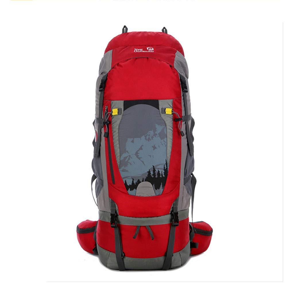 レインカバー付きココ80Lアルミ合金フレーム登山バックパックライトアウトドアレジャースポーツバックパックキャンプフィッシングスキー  Red B07JC61QNQ
