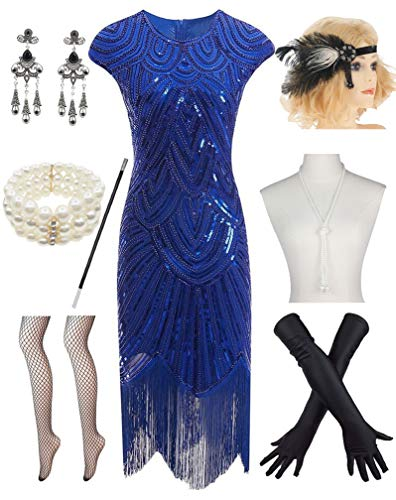 (Women 1920s Vintage Flapper Fringe Beaded Gatsby Party Dress with 20s Accessories Set Blue)