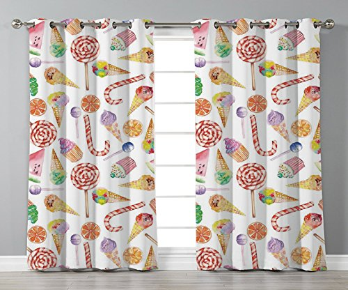 Thermal Insulated Blackout Grommet Window Curtains,Colorful,Ice Cream Candy