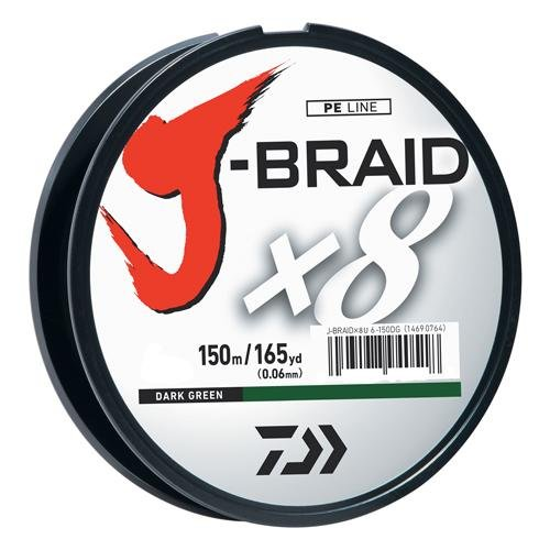 (Daiwa J-Braid 150M 8-Strand Woven Round Braid Line, Dark Green, 15 lb)
