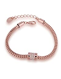 "BEMI Romantic Inlaid AAA Zircon Round Charm Bracelet Rose Gold Chain Link Tennis Bracelets for Women 9"""