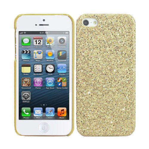 RT-TRADING Apple iPhone 5 5G Glitter Bling Glitzer Strass Hülle Hard Case Cover in Gold