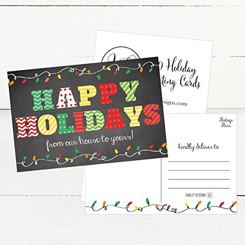 50 Chalkboard Holiday Greeting Cards, Cute Fancy Blank Winter Christmas Postcard Set, Bulk Pack of Premium Seasons Greetings Note, Happy New Years for Kids, Business Office or Church Thank You Notes Photo #2