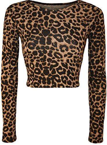 Janisramone mujer manga larga cosecha Tartan camuflaje Animal impresión superior chaleco Brown Leopard Paper Print