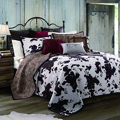 HiEnd Accents QW3067-FQ-OC Elsa Cowhide Cow Print Quilt Set, Full/Queen (Western Comforter Full Set)
