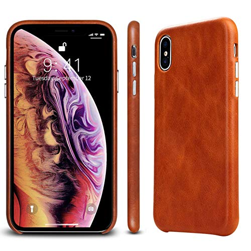 "JISON21 iPhone X&XS Minimalist Case Genuine Leather 5.8""(2018),Luxury iPhone 10 Case Support Wireless Charging Slim Anti-Slip Vintage Shell with Protective Metallic Side Buttons(Brown) ()"