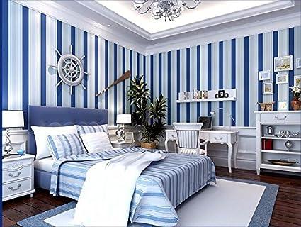 3d De Papel Pintado Y El Blanco Y Azul Rayas Verticales Azul - Pintar-paredes-a-rayas-verticales