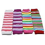juDanzy newborn 4-pack baby leg warmers (Newborn- 15 pounds) (Girl Stripes)