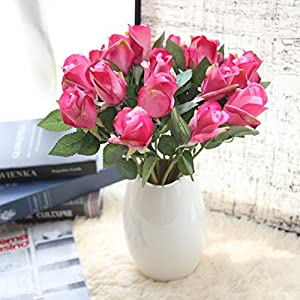 YLCOYO Flowers, 6 Pcs Pretty DIY Artificial Silk Fake Flowers Rose Floral Wedding Home Decor 102