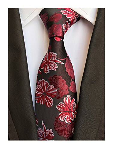 Cherry Red Burgundy Tie Azalea Flowers Necktie for Men Boy BF Father's Day Gifts (Luxury Stripe Shirt Dress Burgundy)
