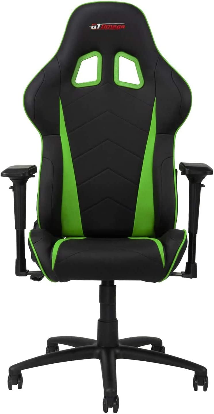 GT OMEGA PRO Racing Gaming Chair with Ergonomic Lumbar Support - PVC Leather Reclining High Back Home Office Chair with Swivel - PC Gaming Desk Chair for Ultimate Racing Experience - Black Next Green
