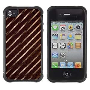 "Pulsar iFace Series Tpu silicona Carcasa Funda Case para Apple iPhone 4 / iPhone 4S , Patrón de rayas Tejido Diseño Textil de Brown"""