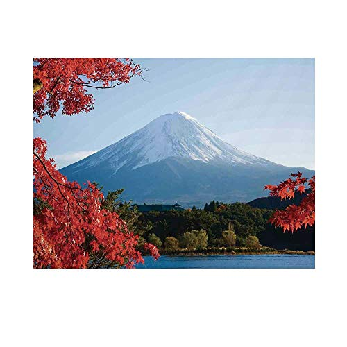 Landscape Photography Background,Mountain Fiji with Snowcapped Summit and Lake Maple Trees in Autumn Backdrop for Studio,5x3ft