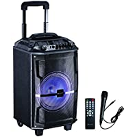 IQ Sound Audio DJ Party Lights Loud Speakers Bluetooth Wireless Tailgate Speaker (80 Watts) Built-in Rechargeable Battery, Radio/USB/SD/Karaoke Transport Wheels & Singing Microphone & remote included