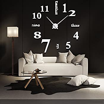 Mirror Surface Decorative Clock 3D DIY Wall Clock Living Room Bedroom Office Hotel Wall Decoration (White)