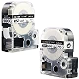 LK-4TBN Label Tape, LaBold 2 Pack Compatible Epson LabelWorks Label Maker Tape Cartridge Black on Clear LK-4TBN LC-4TBN9 1/2'' X 26.2'(12mm x 8M) For use with Epson LW-300, LW-400, LW-600P and LW-700