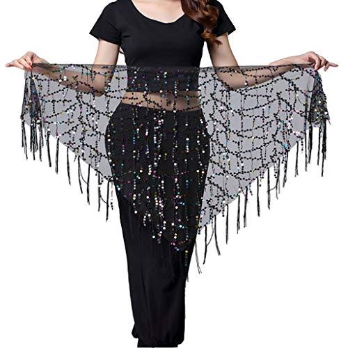 (Women's Summer Beach Wrap Sequins Tassel Mini Skirts Music Festival Hip Scarf Belt Skirt (Mesh Colorful, One Size) )