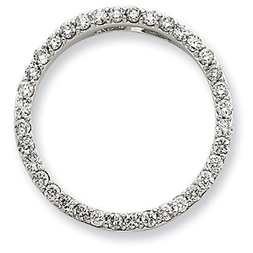 Or blanc 14 carats avec diamant pendentif en forme de cercle Motif JewelryWeb
