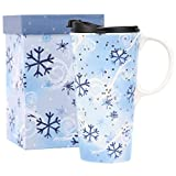 CEDAR HOME Travel Coffee Ceramic Mug Porcelain Latte Tea Cup With Lid in Gift Box 17oz. Snow Flake Flower, Red